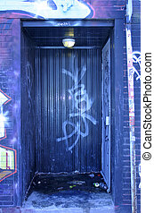 Doorway - An doorway covered with graffiti in Montreal,...