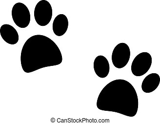 Black paw print on white background - vector