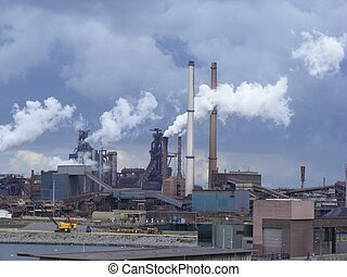 Industry - Photo of industrial buildings and smoke towers