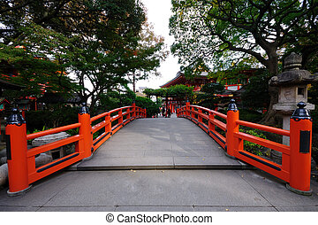 red bridge - red bridge in the japan temple