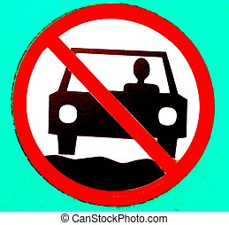 "NO MOTOR VEHICLES SIGN - A stylized ""no motor vehicles"" sign"