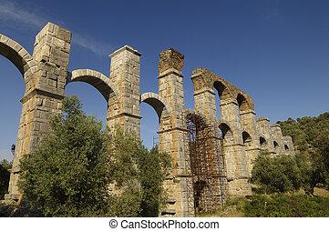 Roman Aqueduct, Greece - The Roman aqueduct at Moria,...