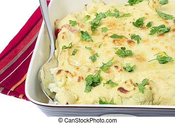 Cauliflower cheese bowl horizontal - View of a cauliflower...