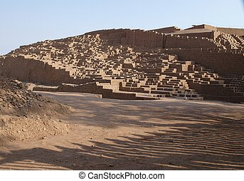 Ruins of pre inca pyramid in Lima