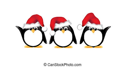 Christmas penguins isolated - Winter cartoon penguins...