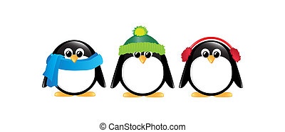 Penguins isolated - Winter cartoon penguins isolated on...