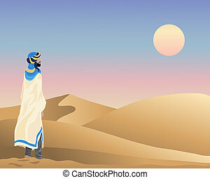 arabian sunset - an illustration of a bedouin standing in...