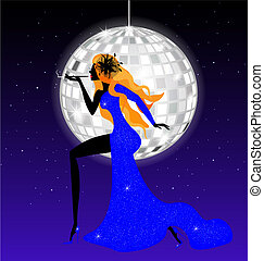 lady-night in blue - on an abstract blue background is...