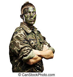 young soldier portrait - portrait of young soldier with...