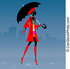 girl in the rain - on an abstract background of the city is...