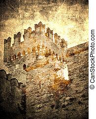 Ancient castle - Ancient castle, retro postcard...