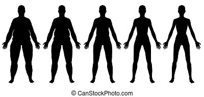 Obese to Skinny Female Silhouette Front View - A...