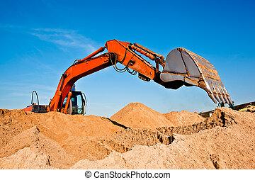 Sand Digging Quarrying Backhoe - Backhoe Digging Sand at a...