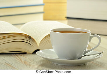 Books and cup of coffee - Composition with books and cup of...