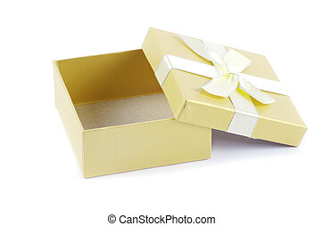 Christmas box gifts with satin bow isolated on white...