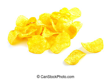 potatoe chips isolated on a white background