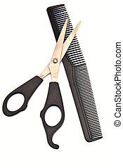 Scissors over comb haircut, surrounded by white background