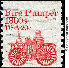fire-pumper - UNITED STATES - CIRCA 1981: stamp printed in...