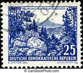 GDR - CIRCA 1961: A stamp printed in Germany shows Brocken...