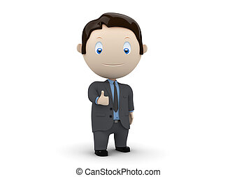Like! Social 3D characters - businessman big finger. New...