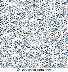 White Snowflakes Seamless Tile on Blue Background