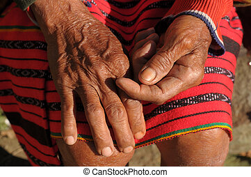 Luzon Island - Hands of old woman from Luzon island