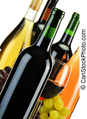 Composition bottles of wine of different sort - Composition...