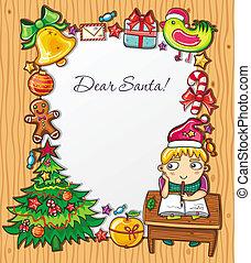 letter to Santa Series 4 - Little boy, wearing Santa hat,...