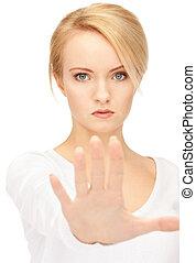 mujer, Elaboración, parada, gesto