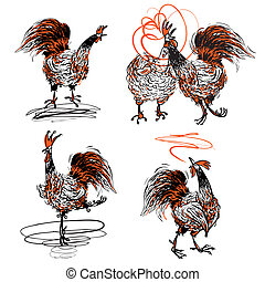 Roosters and a Hen