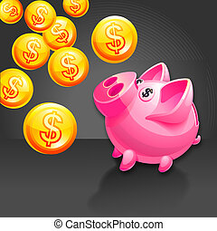 Piggy bank illustration. Icon - Piggy bank illustration....