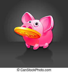 Piggy Bank found Money. Pig vector icon. 10 EPS vector.