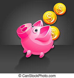 Piggy Bank and falling Money - Pig vector icon. Black...