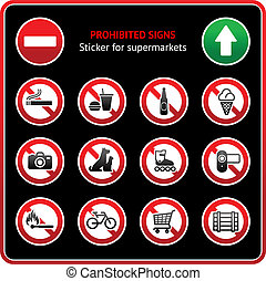 Prohibited Signs Sticker for supermarkets