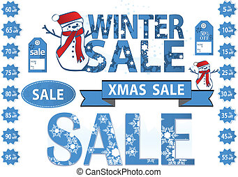 set of vector price tags for winter or xmas sale with...