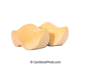 Wooden shoes isolated on white