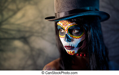 Sugar skull girl in tophat - Sugar skull girl in tophat, in...