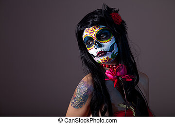 Sugar skull girl with red rose - Sugar skull girl with red...