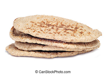 pita bread - a pile of pita breads on a white background