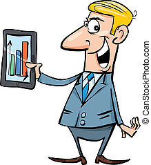 Happy businessman with chart on tablet - cartoon...
