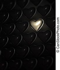 Shiny golden heart surrounded by dark hearts - Shiny golden...
