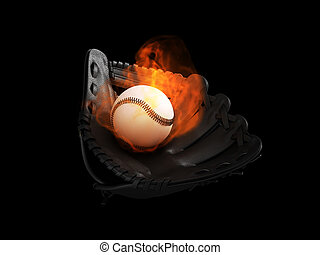 Baseball ball and glove set on fire isolated on black