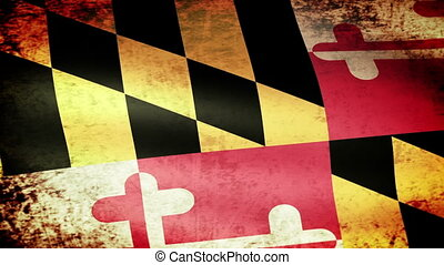Maryland State Flag Waving, grunge
