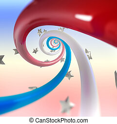 Red, blue, white stripes twirl and stars background