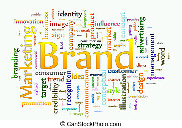 Word cloud concept illustration of Brand and Marketing
