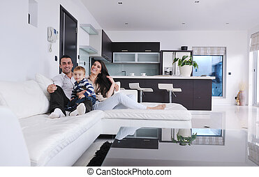 happy young family have fun at home - happy young family...