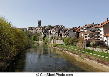 Fribourg city, Switzerland - View on the SaaneSarine river...