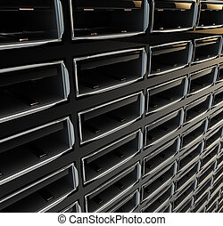 Computer ports aligned in the rows