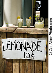 Lemonade Stand With White Sign