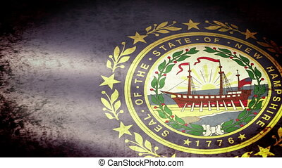 New Hampshire State Flag Waving, grunge look